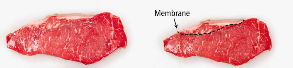 NY Strip with and without membrane